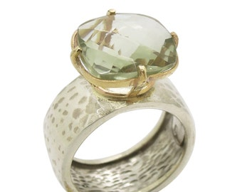 Green amethyst ring set in gold and  a hammered silver