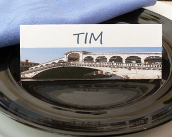 Place Cards, Seating Cards, Food Tents- Rialto Bridge Venice, Italy - Set of 6- Table Decoration