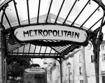 Paris Metro, Black and White, Paris Photography, Travel, Metropolitain Sign, Art Nouveau, Architecture, Paris Wall Decor