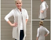 Vest Crochet Pattern Long Style with Shawl Collar No.935 Digital ePattern Instant Download PDF DIY