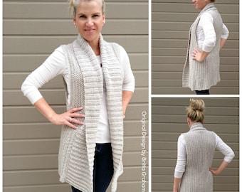 Easy Shawl Collar Long Vest Crochet Pattern Style No.935 Digital ePattern Instant Download PDF DIY