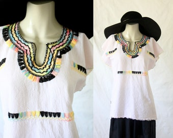 embroidered mexican oaxacan gauze blouse / 1970's