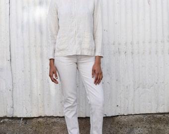 Vintage Irish Linen 1990's Oatmeal Tan Minimalist Pointed Collar Zip Up Shirt Jacket S/M