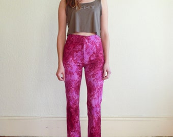 Vintage Leopard Print 1990's Mid Waisted Magenta Pink Cache High Waisted Flare Pants S 25 France