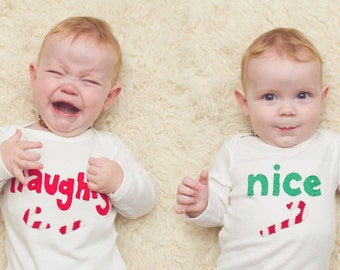 Naughty and Nice Candy Cane TWIN Set of Bodysuits for babies, Christmas Twin gift, Great Shower or Christmas gift for TWINS or siblings