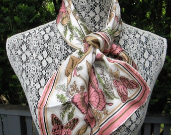 """Vintage Baar & Beards Pink Butterfly Scarf, a Top Hit Fashion, Rayon Silk, Oblong 11 x 35"""" Hand Rolled, Made in Japan"""