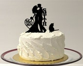 Personalized Wedding Cake Topper with cat, Silhouette Wedding Cake Topper with pet Cat, Custom Wedding Cake Topper, Personalized Cake Topper