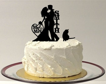 MADE In USA, Personalized Wedding Cake Topper with cat, Silhouette Wedding Cake Topper with pet Cat, Custom Wedding Cake Topper