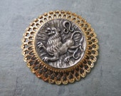 Vintage ZODIAC Brooch - Midcentury Costume Jewelry Pin - LEO Lion Omega with Filigree