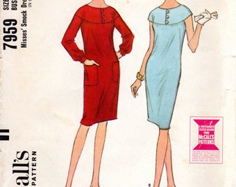 1960s Dress with Cap Sleeves - Vintage Pattern McCall's 7959 - Bust 34 UNCUT FF