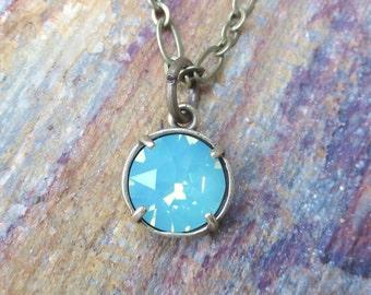 Green Opal Swarovski Crystal Necklace, Minimalist Crystal Necklace, Pacific Opal Crystal Necklace, Beach Opal Necklace, Mint Green Opal