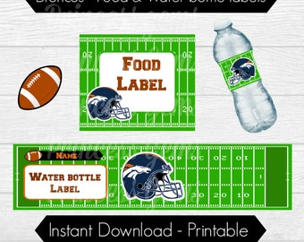 BRONCOS - Water Bottle & Food Label - INSTANT Download - PRINTABLE