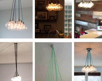 9 Clustered Pendant Light - Modern Chandelier - Ceiling Light Fixture -  Vintage style bulbs - Modern Lighting -