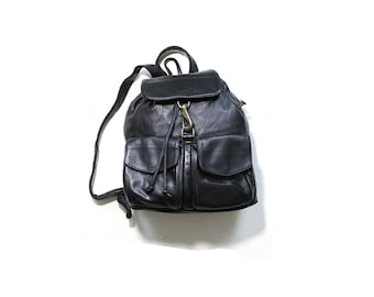 Vintage Leather Backpack / Black Leather Backpack / Drawstring Backpack