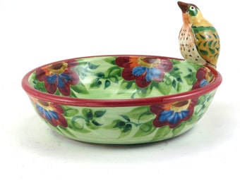 Green Ceramic Bowl - OOAK Collectible Porcelain Dish with Handmade Bird and Red and Blue Flowers - Decorative Dinnerware