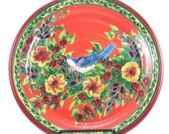 Orange Porcelain Platter - Large Floral Round Ceramic Handmade Dinner Table Place Setting Plate in Whimsy Flower Design Bird