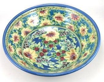 """Large Blue Stoneware Serving Bowl - 10"""" Porcelain Dinnerware Dish with Yellow Flowers - OOAK"""