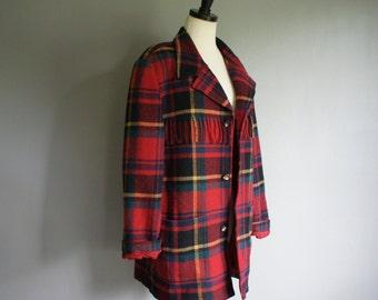 Vintage Red PLAID Fall Autumn FRINGE WOOL Oversized Jacket Coat (m)
