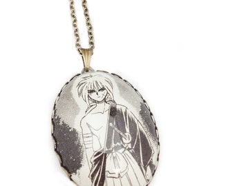 Rurouni Kenshin - Glass Jewelry - Handmade Recycled - Manga / Anime Pendant Necklace