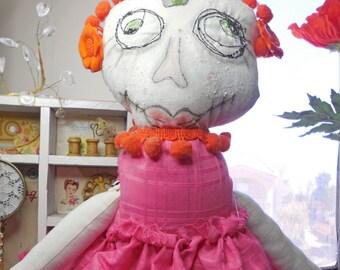Pink, A Sugar Skull Doll Fabric Doll