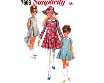 Simplicity 7666 Girls 60s Princess Flared Tent Dress & Sun Hat Pattern Vintage Sewing Pattern Size 12 1/2 Chubbie Breast 33 inches