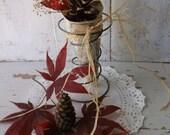 Rustic Shabby Prim Farmhouse table Decor.  Bedspring w Paper Cone Rustic Fall Display. Woodland Autumn Display