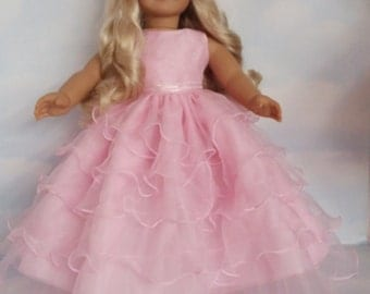 18 inch doll clothes - #271  Pink Ruffled Gown - Handmade to fit the American Girl Doll - FREE SHIPPING
