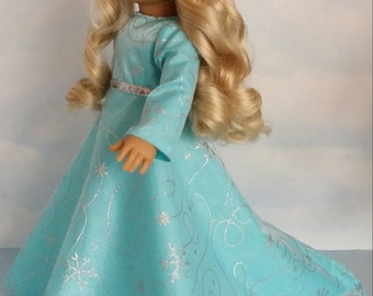 18 inch Doll Clothes - #701 Elsa Snowflake Gown with Train made to fit American Girl Doll - FREE SHIPPING