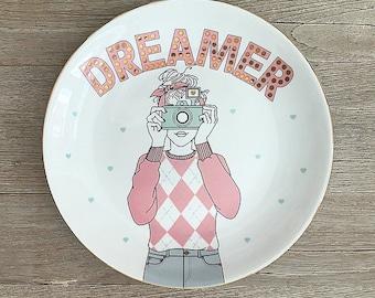 Dreamer girl Porcelain plate(mint green)