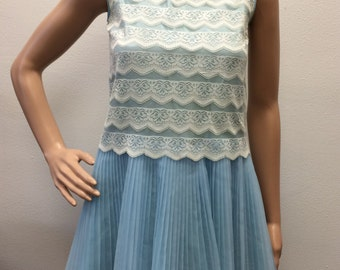 Mini Dress Vintage 60s Pleated Blue Lace XS Petite