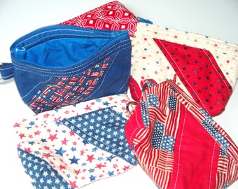 Patriotic Red White and Blue Quilted Coin Purse,Your Choice,Quilted Inside/Out,Key Clip,Handcrafted, Zippered Pouch Stars Flags Blue Red