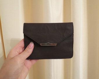 Vintage 50s 60s Brown Genuine Kid Leather Belt Wallet Mini Clutch Purse