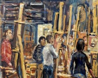 Afternoon Studio, Art Students League of New York. Oil on Canvas, 10x16 American Realist Studio Interior, Signed Original Fine Art