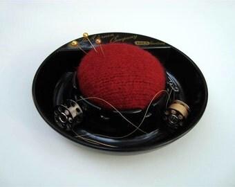 Red Black Pincushion OOAK Pinkeep Vintage Advertising Vernon Co Newton Iowa Pin Cushion