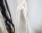 Macrame Plant Hanger on Brass Rod | Natural White Cotton Rope | 3 Strand Indoor Hanging Planter | Plant Pot Holder | Boho Decor
