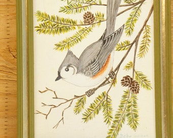 Vintage Bird Painting Original Art Work Wall Art Home Decor