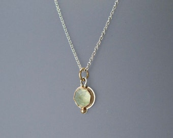Rose Cut Green Prehnite Necklace in 14k Yellow Gold and Sterling Silver - Ready to Ship