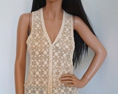 Vintage Shanghai Ecru Hand Crocheted Cotton Blouse / 60s 70s Boho Crochet Lace Sleeveless Tunic Top Large / XLarge