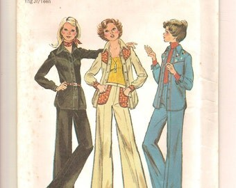 Vintage 70s Shirt Jacket & Pants Pattern - Simplicity 6617 Size 5/6 and 7/8 UNCUT Country Western Rockabilly Clothing