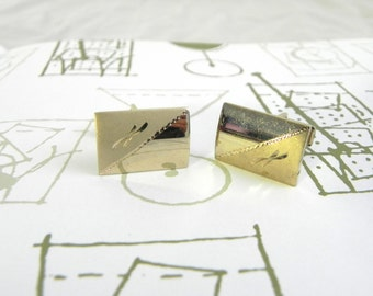 Vintage 50s 60s Gold Etched Cuff Links - on sale