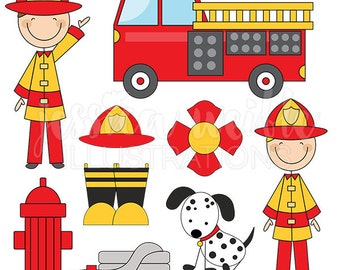 Firefighter Stick Figures Cute Digital Clipart for Card Design, Scrapbooking, and Web Design, Firefighter Clip Art