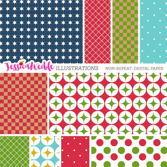 Christmas Nativity Cute Digital Papers, Non-Repeat Pattern, Christmas Pattern, Surface Design, Holiday Background, Checks, Dots, Stars