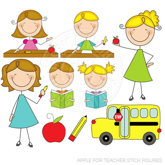 Apple for Teacher Stick Figures Cute Digital Clipart for Card Design, Scrapbooking, and Web Design