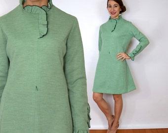 60s Wool Shift Dress | Green Knit Ruffle Dress, Medium