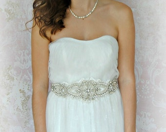 Swarovski Crystal and Pearl Sash, Light Ivory Beaded Crystal Bridal Sash, Off-White Wedding Belt - WISTFUL