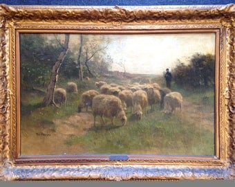 """THE FLOCK Original ter MEULEN Dutch Signed Oil Painting on Canvas in Gilt Frame 29"""" x 41"""""""