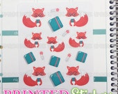 Planner Foxes - printed kiss cut stickers for your planner or calendar - mini sampler sheet - MATTE