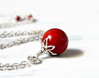 Grade AA Red Coral Necklace Single Drop Medium Red Coral Pendant Natural Gemstone Sterling Silver Red Necklace Coral Red Dangle