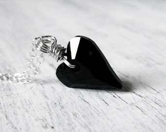 Wild Black Heart Necklace Swarovski Crystal Heart Necklace Jet Black Heart Pendant Sterling Silver Wire Wrapped Black Necklace Gift