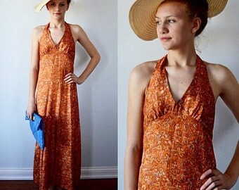 Vintage Maxi Dress, Vintage Halter Dress, 1970s Maxi Dress, Vintage Dress, Summer Dress, Casual Dress, Retro Print Dress